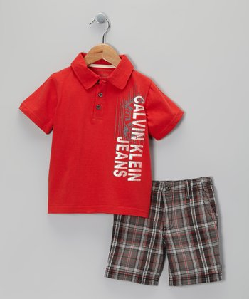 Red Polo & Plaid Shorts - Infant & Toddler