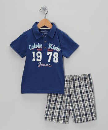 Blue Plaid Polo & Shorts - Infant, Toddler & Boys