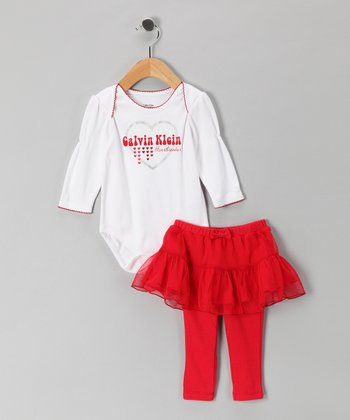 White 'Heartbreaker' Bodysuit & Red Skirted Leggings