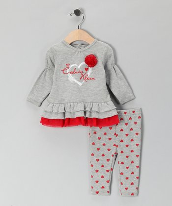 Gray Rosette Ruffle Tunic & Heart Leggings