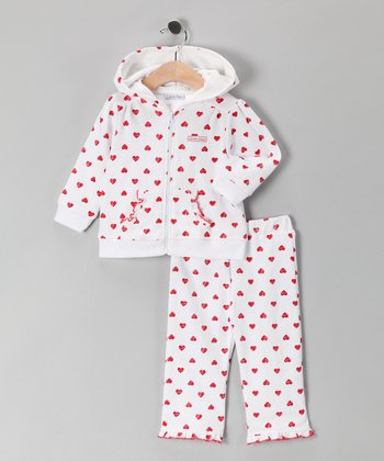 White & Red Heart Zip-Up Hoodie & Pants