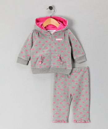 Gray & Pink Heart Zip-Up Hoodie & Pants