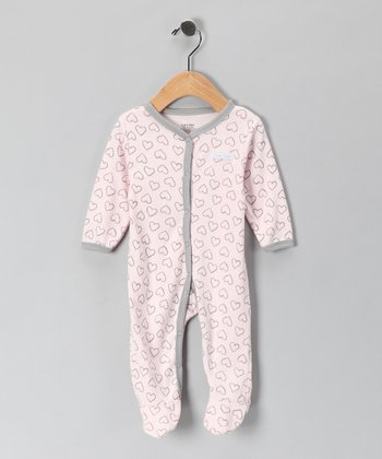 Light Pink & Gray Heart Footie
