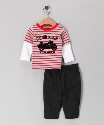 Red 'Stud Muffin' Layered Tee & Pants
