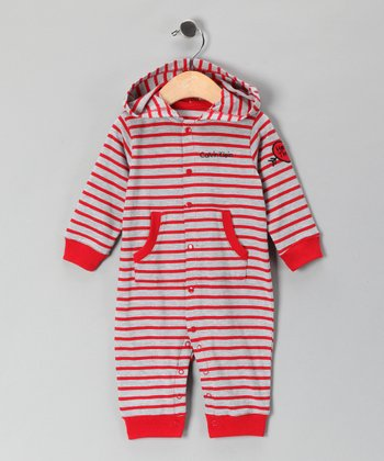 Gray & Red Stripe Playsuit