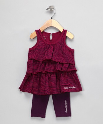 Burgundy Ruffle Tunic & Leggings - Infant & Toddler
