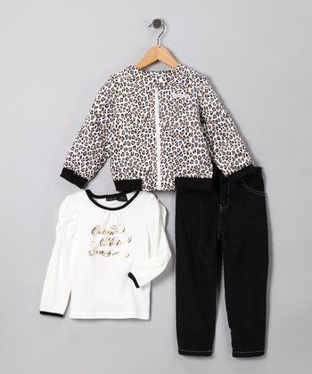 White Leopard Jacket Set - Toddler