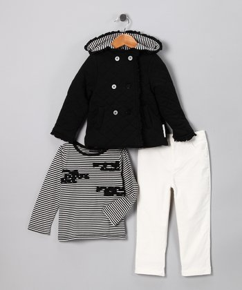 Black Quilted Jacket Set - Toddler