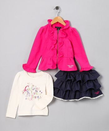 Hot Pink Ruffle Jacket Set - Toddler