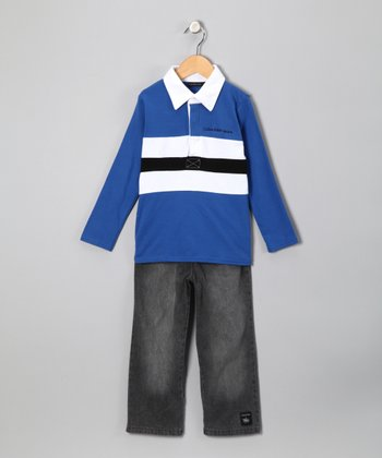 Blue Stripe Polo & Jeans - Toddler