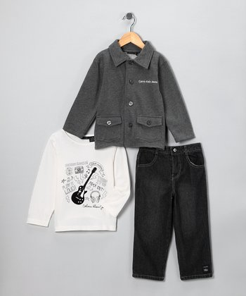 Gray Guitar Jacket Set - Toddler