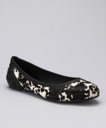 White & Black Haircalf Robin Ballet Flat