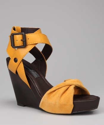 Yellow Hope Wedge Sandal