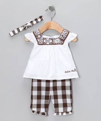 White & Brown Gingham Pants Set