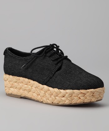 Black Denim Keri Platform Oxford