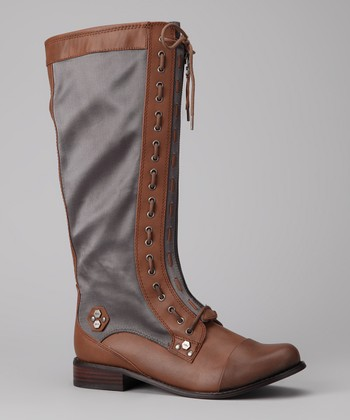 Cognac & Steel Gray Zoe Boot