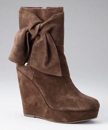 Dark Brown Suede Harper Wedge Boot