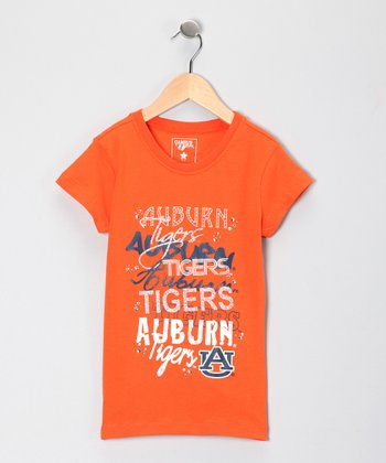Orange Auburn Glitter Ava Tee - Girls