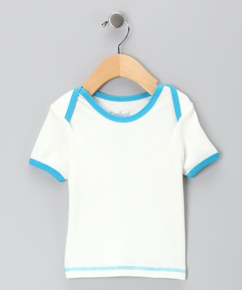 Canboli White & Turquoise Organic Short-Sleeve Tee - Infant