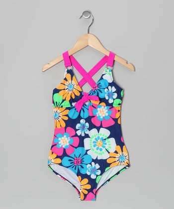 Navy Floral One-Piece - Girls
