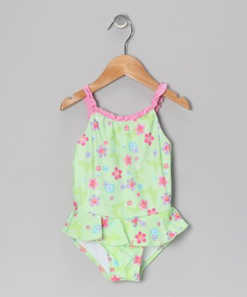 Green Floral Skirted One-Piece - Toddler