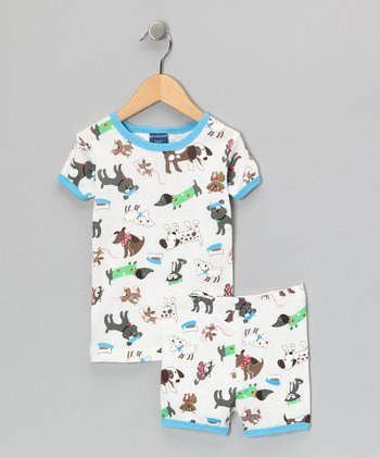 White Dog Pajama Set - Toddler