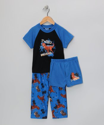 Blue 'T-Rex' Pajama Set - Toddler