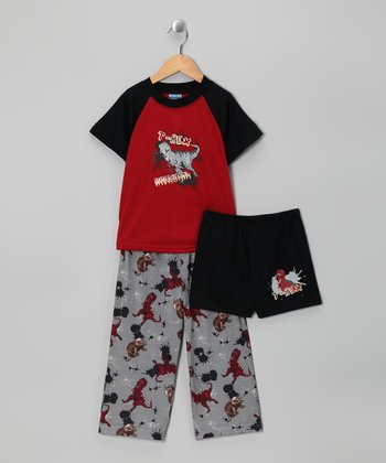 Red & Gray 'T-Rex' Pajama Set - Toddler