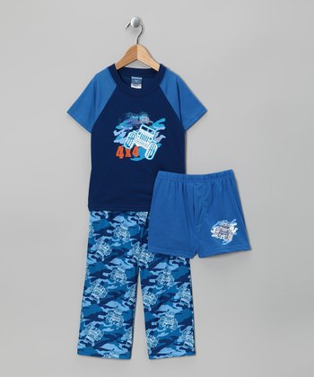 Blue '4 x 4' Camo Pajama Set - Toddler