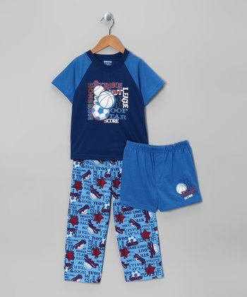 Blue Sport Pajama Set - Boys