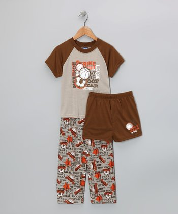 Brown Sport Pajama Set - Boys