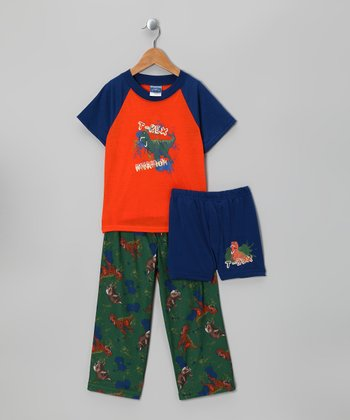Orange & Green 'T-Rex' Pajama Set - Boys