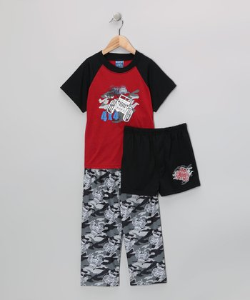 Black & Red '4 x 4' Pajama Set - Boys