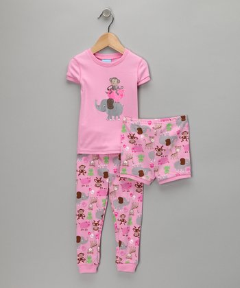 Pink Animal Pants Pajama Set - Infant