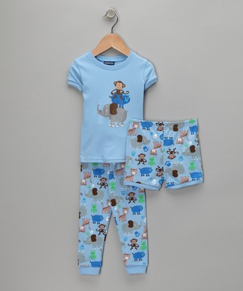Blue Animal Pants Pajama Set - Infant