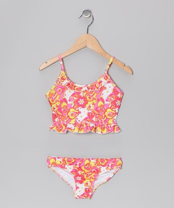 Orange & White Floral Ruffle Tankini - Girls