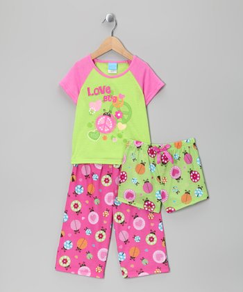 Lime & Pink 'Love Bug' Pajama Set - Toddler & Girls