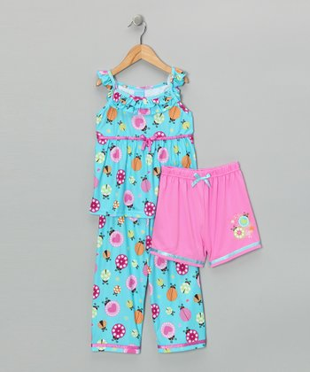 Pink & Turquoise 'Love Bug' Pajama Set - Toddler & Girls