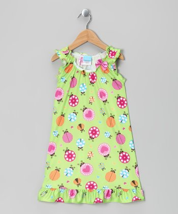 Lime Ladybug Nightgown - Toddler & Girls