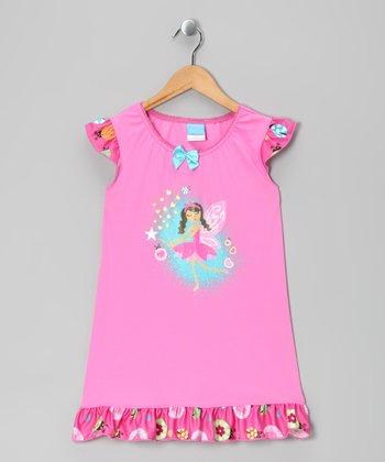 Pink Fairy Angel-Sleeve Nightgown - Toddler & Girls