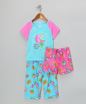 Turquoise & Pink 'Reach for the Stars' Pajama Set - Girls