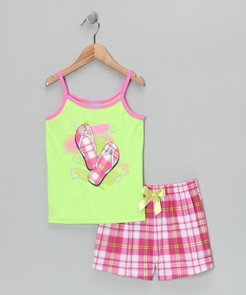Green & Pink Sandal Pajama Set - Girls