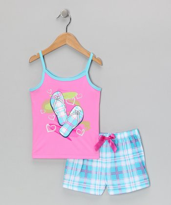 Pink & Blue Sandal Pajama Set - Girls