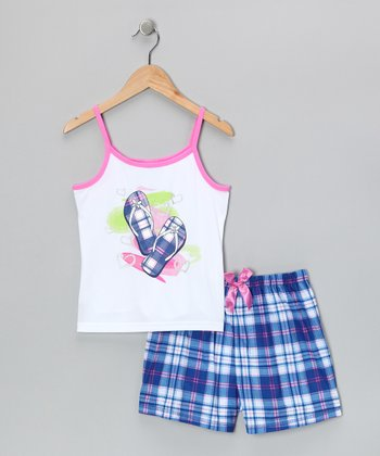 White & Navy Sandal Pajama Set - Girls