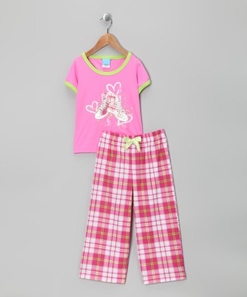 Pink Plaid Sneaker Pajama Set - Girls