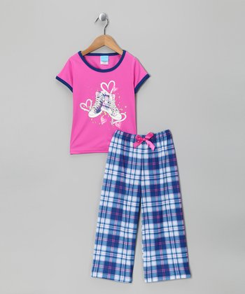 Navy Plaid Sneaker Pajama Set - Girls
