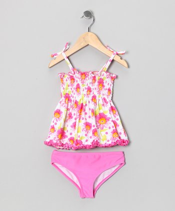 Pink Daisy Smocked Tankini - Infant & Toddler