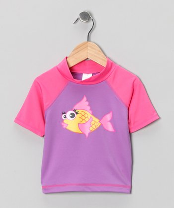 Purple & Pink Fish Rashguard - Toddler & Girls