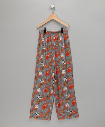 Orange Basketball Pajama Pants - Boys