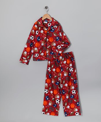 Red Sport Flannel Pajama Set - Toddler